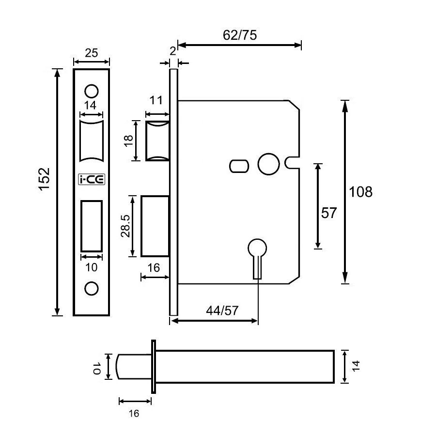5 Lever Sashlock 75mm British Standard BS3621 Electro Brass